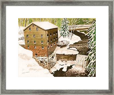 Lantermans Mill In Winter - Mill Creek Park Framed Print by Laurie Anderson