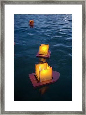 Lantern Floating Festival, Memorial Framed Print by Douglas Peebles
