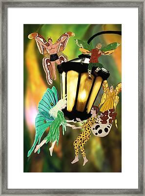 Lantern Folk Framed Print