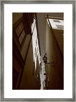 Lantern In A Narrow Alley - Sepia Framed Print by Ulrich Kunst And Bettina Scheidulin