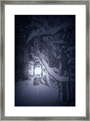Lantern In Snow Framed Print by Joana Kruse