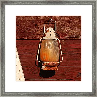 Lantern On Red Framed Print by Art Block Collections