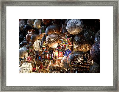 Lanterns For Sale In The Souk Framed Print by Peter Adams