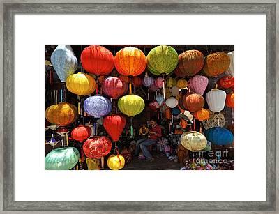 Lanterns Hanging In Shop In Hoi An Framed Print by Sami Sarkis