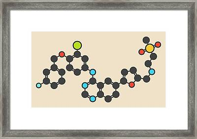 Lapatinib Cancer Drug Molecule Framed Print by Molekuul