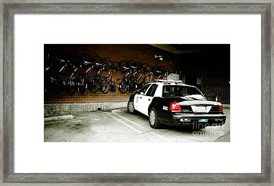 Lapd Cruiser And Police Bikes Framed Print by Nina Prommer