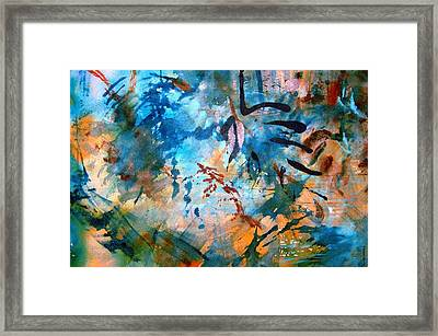 Framed Print featuring the painting Lapis Leaves by Mary Schiros