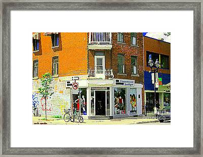 L'appartement Boutique Fashions Trendy Chic Clothing Store Ave Du Mont Royal City Scene  Framed Print by Carole Spandau