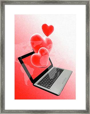 Laptop And Hearts Framed Print