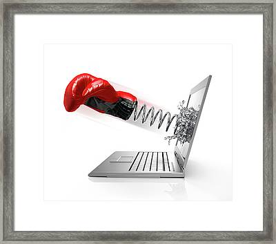 Laptop With Boxing Glove Framed Print by Leonello Calvetti