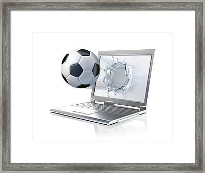 Laptop With Football Framed Print by Leonello Calvetti