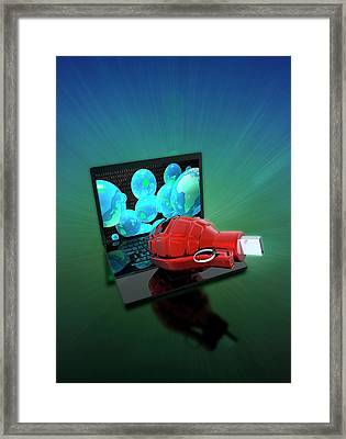 Laptop With Grenade And Usb Device Framed Print by Victor Habbick Visions