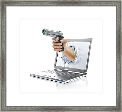 Laptop With Hand And Gun Framed Print