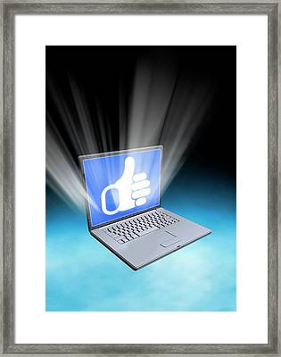 Laptop With Thumbs Up Icon Framed Print by Victor Habbick Visions