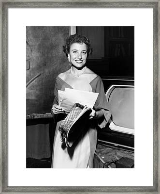 Laraine Day, On The Set Of Her Talk Framed Print by Everett
