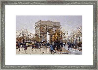 L'arc De Triomphe Paris Framed Print by Eugene Galien-Laloue