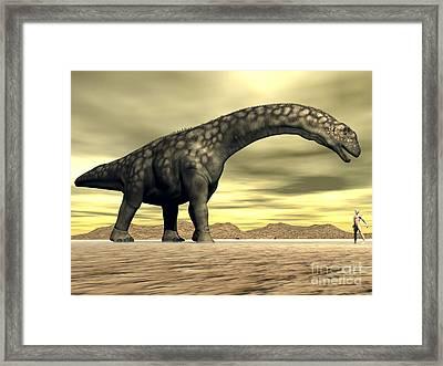 Large Argentinosaurus Dinosaur Face Framed Print