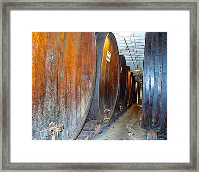 Large Barrels At Korbel Winery In Russian River Valley-ca Framed Print