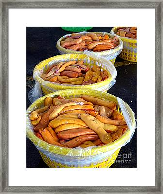 Large Baskets With Mullet Roe Framed Print by Yali Shi