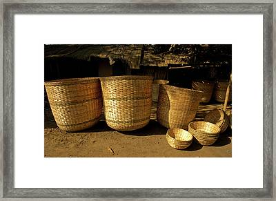 Large Baskets Woven From Cane Framed Print by Jaina Mishra