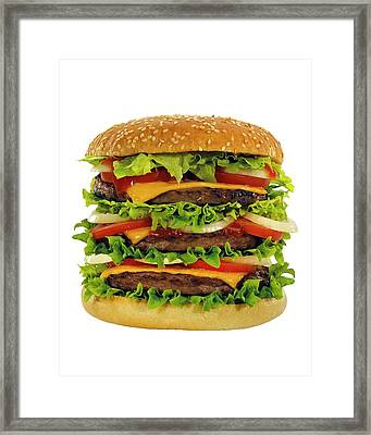 Large Beef Burger With Cheese And Salad Framed Print by Mark Sykes