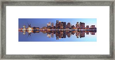 Large Boston City Panorama At Night Framed Print by Buzbuzzer
