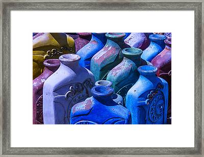 Large Colorful Vases Framed Print