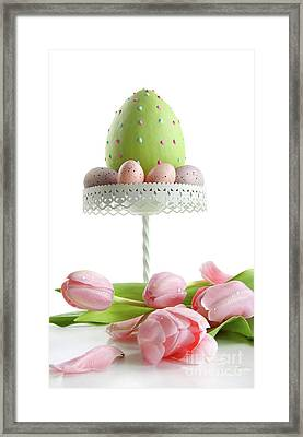 Large Easter Egg With Pink Tulips  Framed Print by Sandra Cunningham