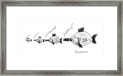 Large Fish Is Smoking A Fat Cigar. Smaller Fish Framed Print