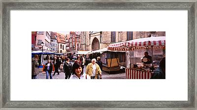 Large Group Of People Walking On The Framed Print by Panoramic Images