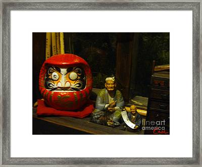 Large Japanese Daruma With Statues Framed Print by Feile Case