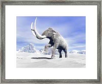 Large Mammoth Walking Slowly Framed Print by Elena Duvernay