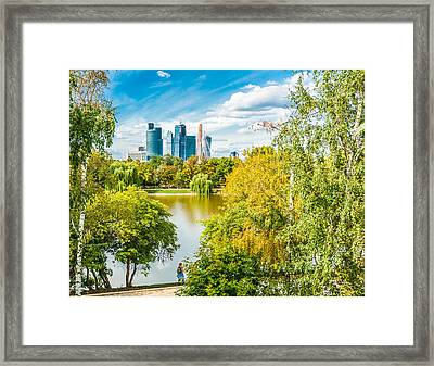 Large Novodevichy Pond Of Moscow - 4 Framed Print
