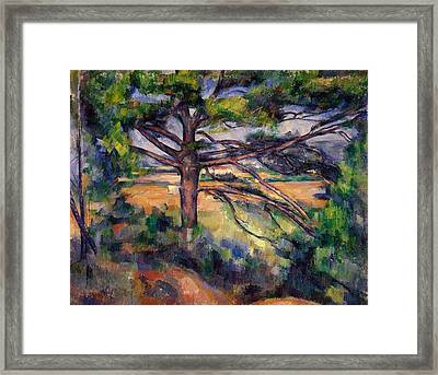 Large Pine And Red Earth Framed Print by Paul Cezanne