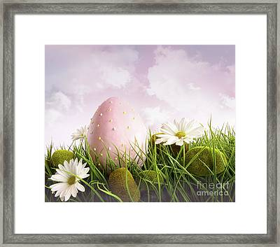 Large Pink Easter With Flowers In Tall Grass Framed Print by Sandra Cunningham