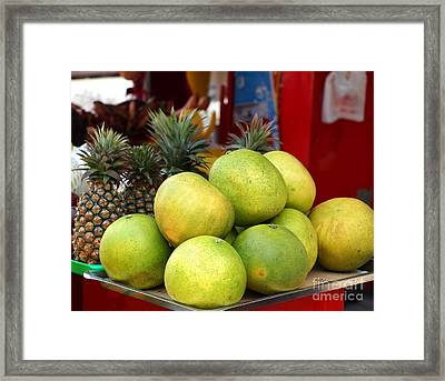 Large Pomelos And Pineapples Framed Print by Yali Shi