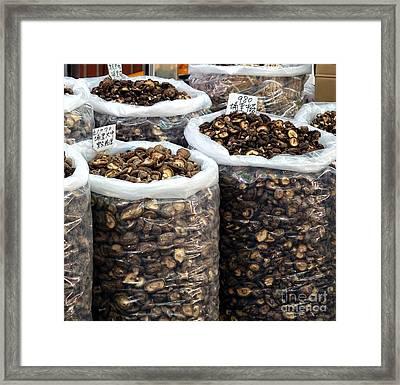 Large Sacks With Dried Mushrooms Framed Print by Yali Shi