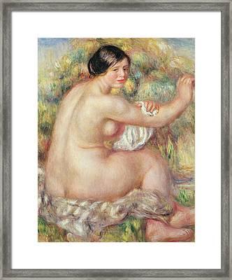 Large Seated Nude Framed Print by Pierre Auguste Renoir
