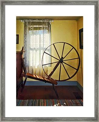 Large Spinning Wheel Near Lace Curtain Framed Print by Susan Savad