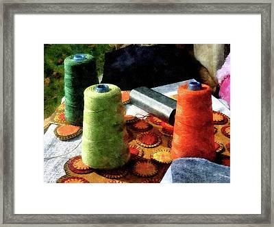 Large Spools Of Thread Framed Print by Susan Savad