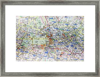 Large Street Map And Infopunkt Framed Print
