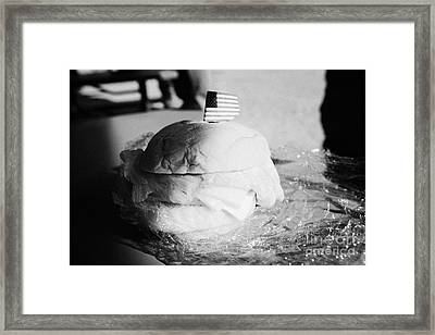 Large Turkey Salad Sandwich Wrapped In Cling Film Usa Framed Print by Joe Fox