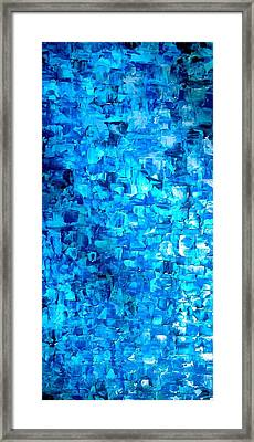 Large Wall Art Textured Painting Vertical Abstract Waterfall Framed Print