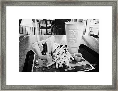 large wendys burger meal with large drink and fries Las Vegas Nevada USA Framed Print