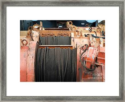 Large Winch With Steel Cable Framed Print by Yali Shi