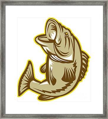 Largemouth Bass Fish Jumping Retro Framed Print by Aloysius Patrimonio