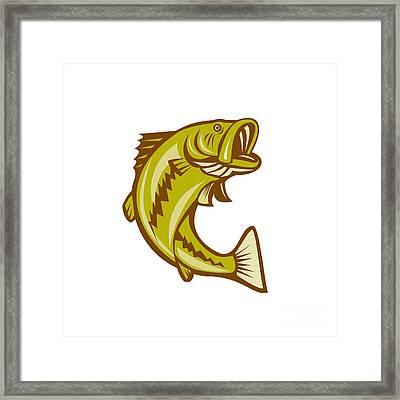 Largemouth Bass Jumping Cartoon Framed Print by Aloysius Patrimonio