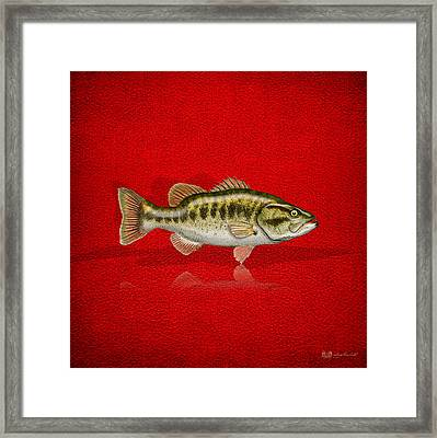 Largemouth Bass On Red Leather Framed Print