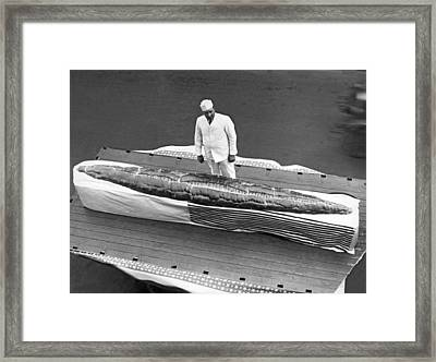 Largest Loaf Of Italian Bread Framed Print by Underwood Archives