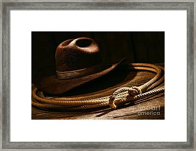 Lariat And Hat Framed Print by Olivier Le Queinec